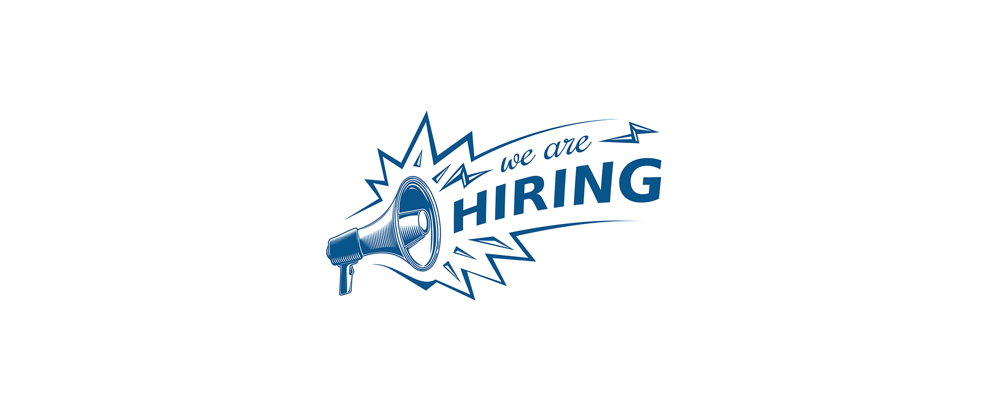 Graphic of We Are Hiring with megaphone