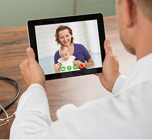 physician and patient video call
