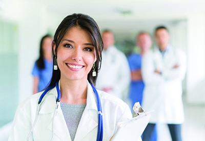 doctor in front of group